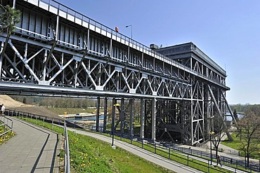 Side view of the Niederfinow boat lift in Brandenburg, Germany, Europe