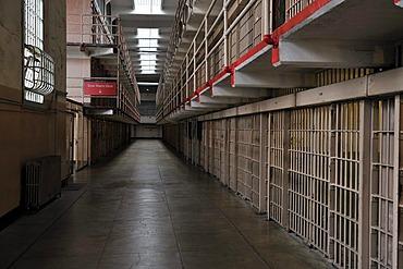 View into a cell block in the prison, Alcatraz Island, California, USA