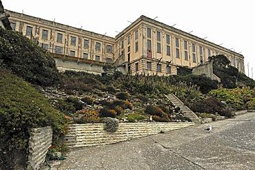 Exterior, cell block, Alcatraz Island, California, USA