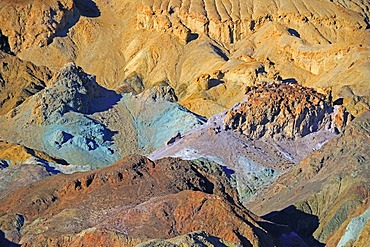 Rocks discoloured by minerals at the Artist's Palette in the evening light, Death Valley National Park, California, USA, Norht America