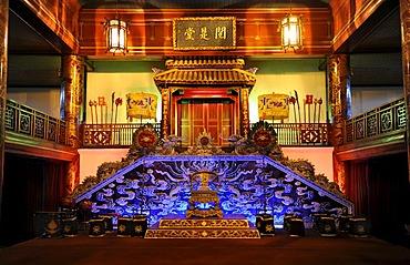 Hall at the Royal Theatre, Hoang Thanh Royal Citadel, Hue, North Vietnam, Vietnam, Southeast Asia, Asia