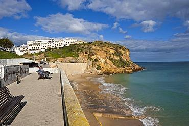 Town view with beach, Burgau, Algarve, Portugal, Europe