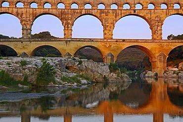 Pont du Gard at dawn, Roman aqueduct, Gard department, Provence, France, Europe