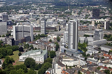 Downtown, Aalto Theater, Opera, main train station, EVONIK headquarters and RWE Tower administrative building, right, Essen, North Rhine-Westphalia, Germany, Europe