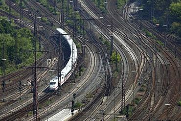 ICE, Intercity-Express train on the track, railway, track network next to the Essen main railway station, Essen, North Rhine-Westphalia, Germany, Europe