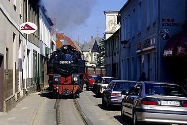 Schmalspurbahn Molli, a narrow-gauge railway, driving next to cars, Bad Doberan, Baltic Sea, Mecklenburg-Western Pomerania, Germany, Europe