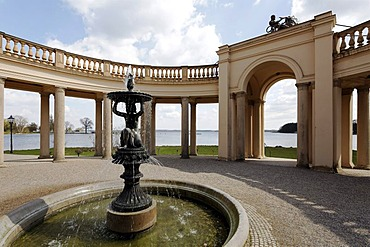 Colonnades at the entrance to the orangery, Schloss Schwerin Castle, Schwerin, Mecklenburg-Western Pomerania, Germany, Europe