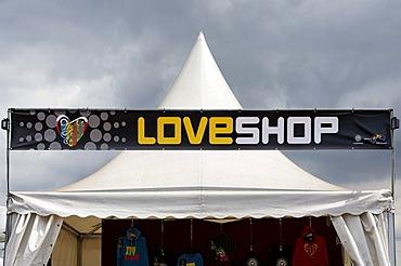 Love shop tent, souvenir shop, Loveparade 2010, Duisburg, North Rhine-Westfalia, Germany, Europe