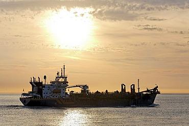 Cargo boat on the sea, sunset, Zoutelande, Walcheren peninsula, Zeeland province, Netherlands, Benelux, Europe