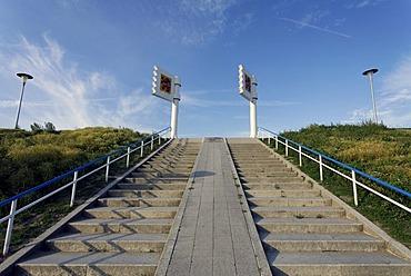 Wide staircase, dune crossing to the beach, Zoutelande, Walcheren, Zeeland, Netherlands, Benelux, Europe