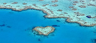 Panorama, aerial view of the ocean floor, Heart Reef, heart-shaped reef, Great Barrier Reef World Heritage Area, Great Barrier Reef, UNESCO World Heritage Site, Queensland, South Pacific, Australia