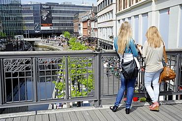 Waterfront promenade with cafes and beer gardens, Arhus or Aarhus, Jutland, Denmark, Europe