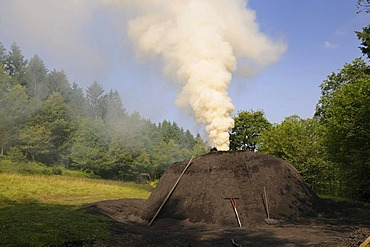 Smoking charcoal kiln, Walpersdorf, Kreis Siegen-Wittgenstein district, North Rhine-Westphalia, Germany, Europe