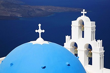 Church of Imerovigli with blue cupola high above the Aegean, Santorini, Cyclades, Greece, Europe