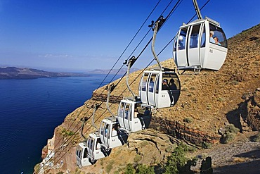Cable car to the dock of Fira, Santorini, Cyclades, Greece, Europe