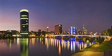 Westhafen Tower towards the financial district at night, Frankfurt, Hesse, Germany, Europe