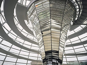 Glass dome of the Reichstag Building, Berlin, Germany, Europe