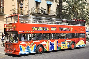 Tourist bus at the Plaza Reina, Valencia, Comunidad Valencia, Spain, Europe
