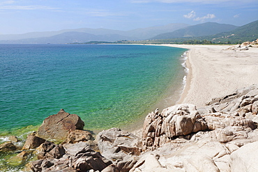 Plage du Liamone beach, Gulf of Sagone, West Corsica, Corsica, France, Europe