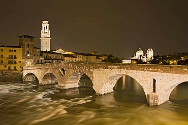 Ponte Pietra bridge with Verona Cathedral, Cattedrale di Santa Maria Matricolare or Duomo di Verona at night, Verona, Veneto, Italy, Europe