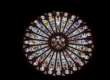 Rose window in the Cathedral of St-Maurice, Angers, Maine-et-Loire, Pays de la Loire, France, Europe