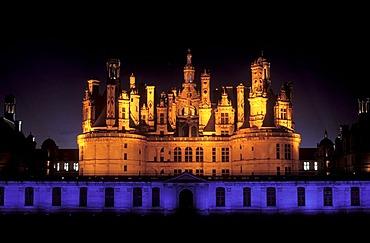 """Illumination at night, """"Son et lumiere"""", Chateau de Chambord Castle, Loire Valley, Indre-et-Loire, Centre, France, Europe"""