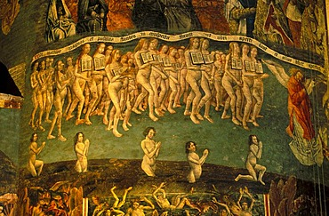 Last Judgement, fresco in the Cathedrale Sainte-Cecile d'Albi Cathedral, Albi, Tarn, Midi-Pyrenees France, Europe