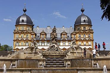 Cascade and fountains, Schloss Seehof castle, Memmelsdorf, Upper Franconia, Franconia, Bavaria, Germany, Europe