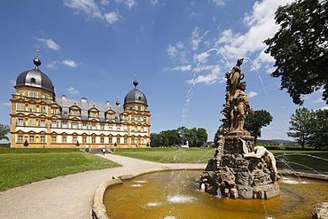 Fountain, Schloss Seehof castle, Memmelsdorf, Upper Franconia, Franconia, Bavaria, Germany, Europe