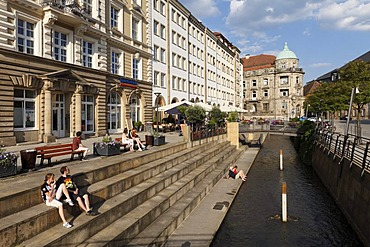 Canal, Opernstrasse street, Bayreuth, Upper Franconia, Franconia, Bavaria, Germany, Europe