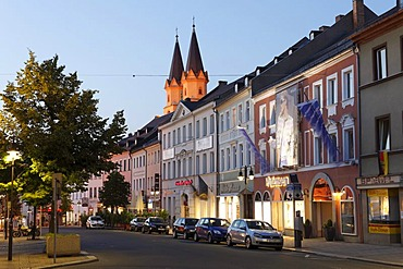 Ludwigstrasse street with St. Michaelis church, Hof, Upper Franconia, Franconia, Bavaria, Germany, Europe
