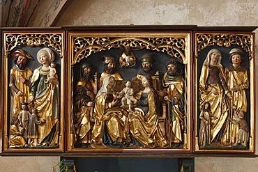 Altar depicting the Holy Family, evangelical Parish Church of Langenzenn, Middle Franconia, Franconia, Bavaria, Germany, Europe