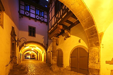 Historic arch in the town hall, Rothenburg ob der Tauber, Romantic Road, Middle Franconia, Franconia, Bavaria, Germany, Europe