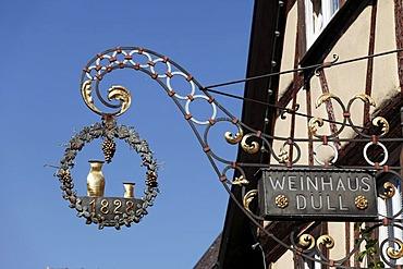 Restaurant sign, Sommerhausen, Mainfranken, Lower Franconia, Franconia, Bavaria, Germany, Europe