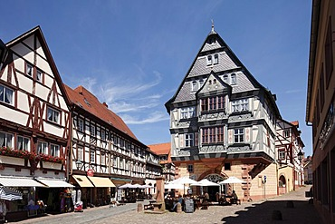 Half-timbered houses with Hotel Riesen, Miltenberg, Mainfranken, Lower Franconia, Franconia, Bavaria, Germany, Europe