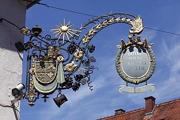 Guild sign, Hotel Restaurant Brauerei Keller, Miltenberg, Mainfranken, Lower Franconia, Franconia, Bavaria, Germany, Europe