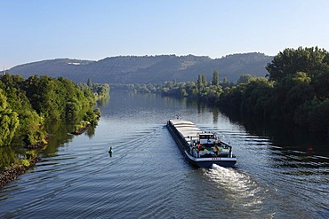 Cargo boat on the Main river, Karlstadt, Main-Franconia region, Lower Franconia, Franconia, Bavaria, Germany, Europe