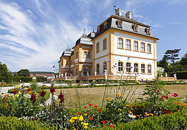 Castle in the rococo garden in Veitshoechheim, Main-Franconia region, Lower Franconia, Franconia, Bavaria, Germany, Europe