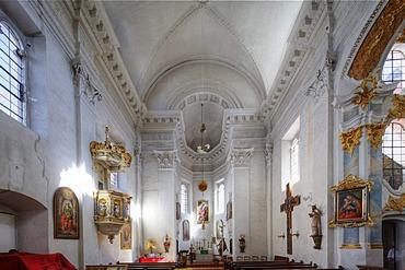 Court church in Guenzburger Schloss castle, Guenzburg, Donauried region, Swabia, Bavaria, Germany, Europe