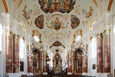 Frauenkirche Church of Our Lady by Dominikus Zimmermann, Guenzburg, Donauried region, Swabia, Bavaria, Germany, Europe