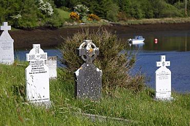 Cemetery at Burrishoole Abbey near Newport, County Mayo, Connacht, Republic of Ireland, Europe