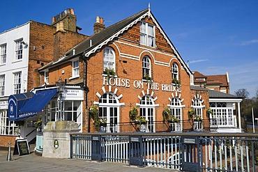 House on the Bridge Riverside Restaurant by the river Thames, Windsor Bridge, Eton, Berkshire, England, United Kingdom, Europe