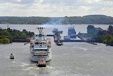 Cruise Ship entering Holtenau lock, Kiel Canal, Kiel, Schleswig-Holstein, Germany, Europe
