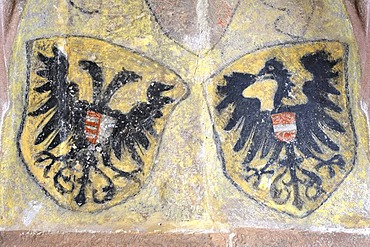 Painted coat of arms on a wall in the Kloster Alpirsbach monastery, Freudenstadt district, Baden-Wuerttemberg, Germany, Europe