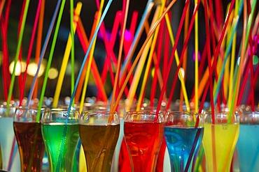 Cocktails with straws, Lloret de Mar, Costa Brava, Spain, Europe