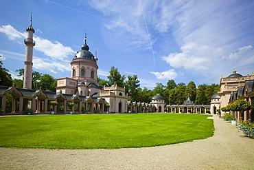 Mosque and prayer walk, Schloss Schwetzingen or Schwetzingen Castle palace gardens, Schwetzingen, Baden-Wuerttemberg, Germany, Europe