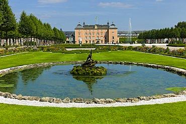 Fountain with sculptures in the castle gardens, Schloss Schwetzingen castle, 18th century, Schwetzingen, Baden-Wuerttemberg, Germany, Europe