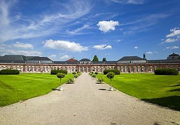 Palace gardens and Schloss Schwetzingen castle, 18th century, Schwetzingen, Baden-Wuerttemberg, Germany, Europe