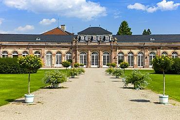 Noerdlicher Zirkelbau building, Schloss Schwetzingen castle, 18th century, Schwetzingen, Baden-Wuerttemberg, Germany, Europe