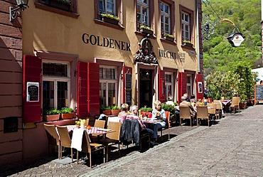 Steingasse street with the Goldener Hecht traditional restaurant, Heidelberg, Rhine-Neckar region, Baden Wuerttemberg, Germany, Europe